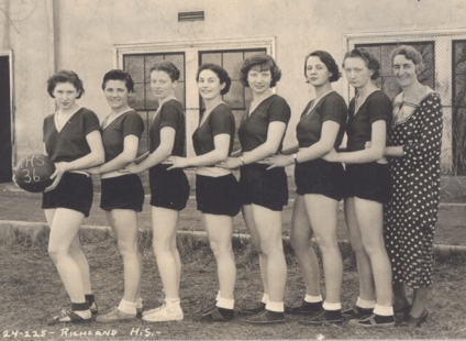 Grandma (2nd from left) and the Richland High School team